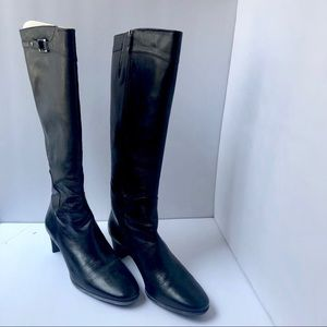 Cole Haan Tall Black Leather Boots Size 7